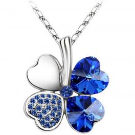 Halskette Kleeblatt blau