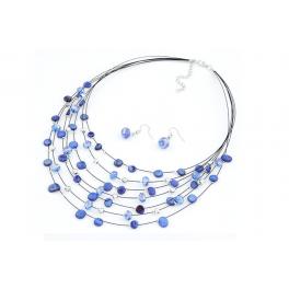 Mehrreihige Perlenkette blau/bunt/gelb