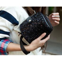 Schwarze Pailletten Tasche