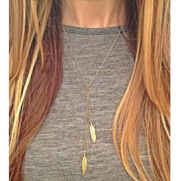 Y-Kette Federn gold / silber