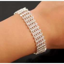Kristall Armband 4-reihig silber