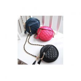 Runde Umhängetasche pink blau schwarz