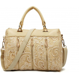 Handtasche Spitze beige